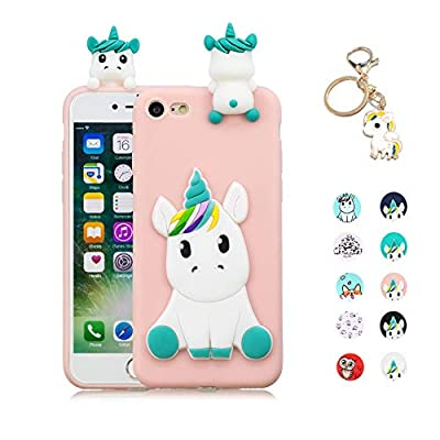 Kawaii-Shop Funda Compatible con Samsung Galaxy S10 Plus Silicona Case, 3D Unicornio Rosa TPU Gel Carcasa Inquebrantable Shell Cover para Chicas +Llavero de Unicornio