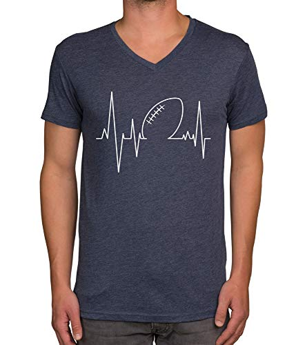 shirtdepartment - Herren T-Shirts & Hoodies - American Football - Herzfrequenz - EIN Herzschlag wie beim Touchdown! dunkelblau-V-Neck L
