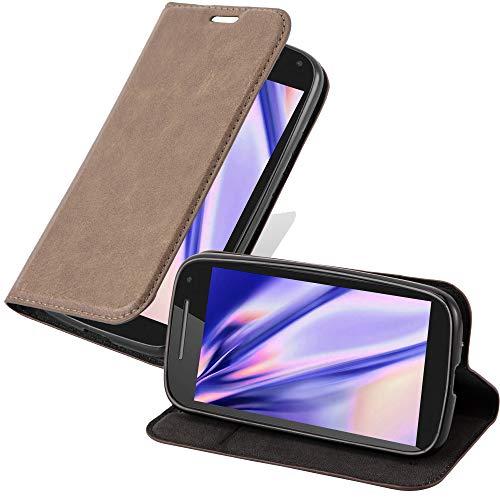 Cadorabo Hülle für Motorola Moto E2 - Hülle in Nacht SCHWARZ – Handyhülle mit Magnetverschluss, Standfunktion und Kartenfach - Case Cover Schutzhülle Etui Tasche Book Klapp Style