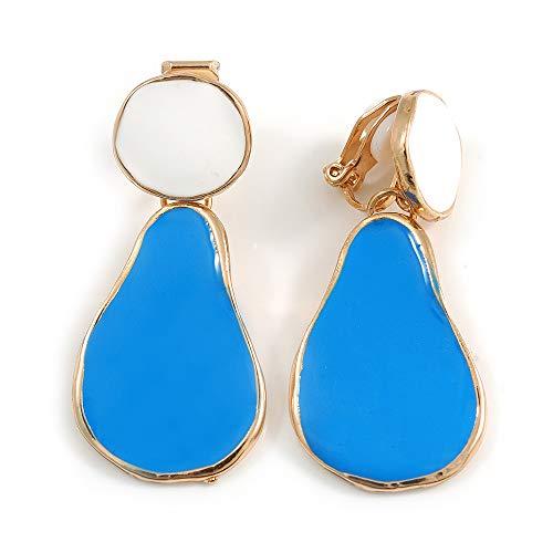 Blue/White Enamel Teardrop Clip-On Earrings In Gold Tone Metal - 40mm Long