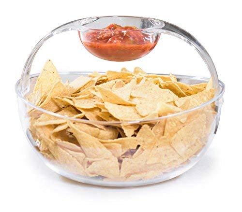 Adorn Crystal Clear Plastic Chips n Dips Bowl | Salad Bowl | Fruit Bowl | Vegetable Bowl | Removable Arch Dip Cup