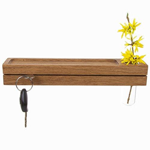 Rasch Design Schlüsselbrett aus Holz mit Ablage und Reagenzglas als Vase | Holz Wandmontage Blumenvase (Eiche)
