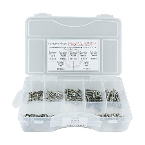 Sortiment DIN 7991 / ISO 10642 Edelstahl A2 Durchmesser M3, 400 Teile ; Senkkopfschrauben/Innensechskantschrauben, Material VA V2A