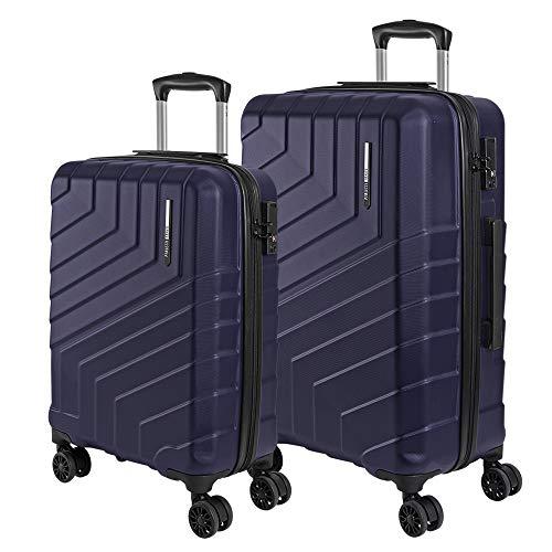 Set de Maletas Rigidas - Trolley de Mano y de Bodega Ligero ABS - Equipaje de Viaje con Mango Telescópico de Aluminio - Cerradura TSA y 4 Ruedas Dobles Multidireccionales - Perletti Travel (Azul, S+M)