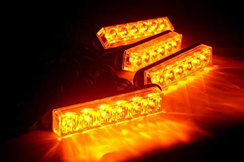 24 W 4 Leuchtköpfe Combo Kit Notfall-Warnung, LED Stroboskop Kühlergrill Blinklicht für Auto LKW Sicherheit