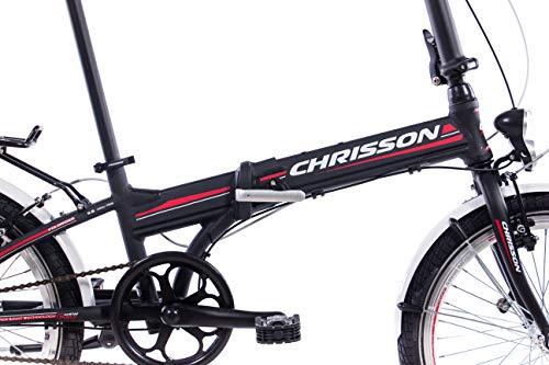 CHRISSON 20 Zoll Faltrad Klapprad - Foldrider 3.0 schwarz - Faltfahrrad für Herren und Damen - 20 Zoll klappbares Fahrrad mit 7 Gang Shimano Nexus Nabenschaltung - Folding City Bike - 3