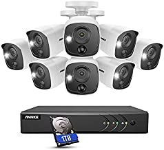 ANNKE 8 Camera Security System 8CH 5MP H.265+ DVR and 8 X 1080P HD Weatherproof Bullet CCTV Cameras, PIR Detection, White Light Alarm, Email Alert with Snapshots, 1 TB Surveillance Hard Drive – E200