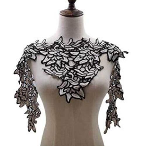 1 st venise kant stof jurk applique motief blouse naaien versieringen diy hals kraag kostuum decoratie accessoires gratis verzending, zwart wit