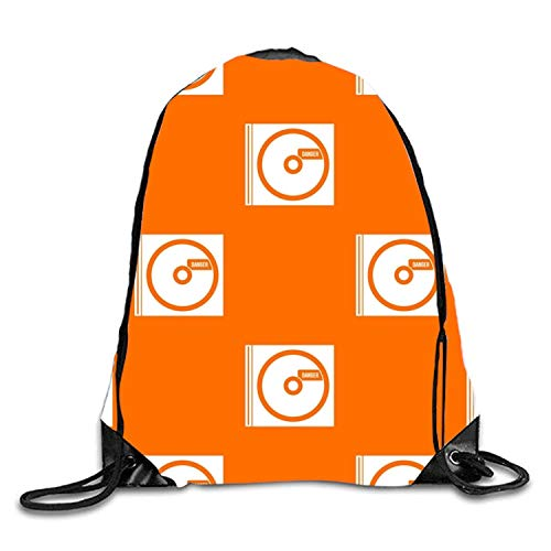 Lawenp CD with Danger Sackpack Mochila con cordón Mochila Impermeable Gymsack Daypack para Hombres Mujeres