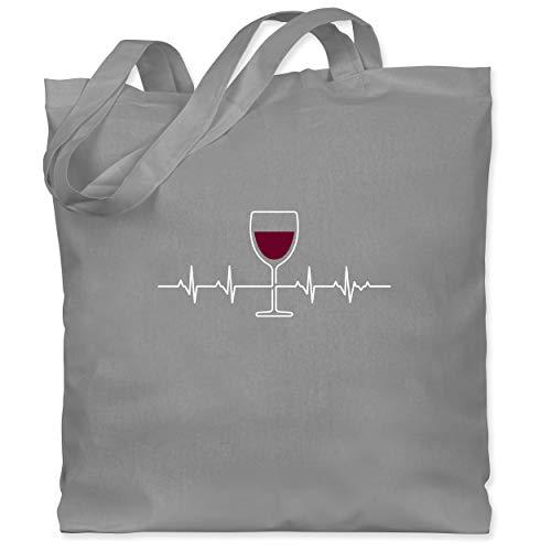 Shirtracer Symbole - Herzschlag Rotwein - Unisize - Hellgrau - Geschenk - WM101 - Stoffbeutel aus Baumwolle Jutebeutel lange Henkel