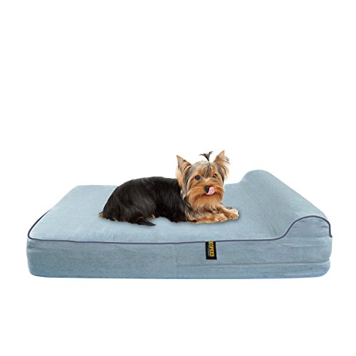 KOPEKS Orthopedic Memory Foam Dog Bed with Pillow - Includes Waterproof Inner Protector - Grey - for Small Dogs