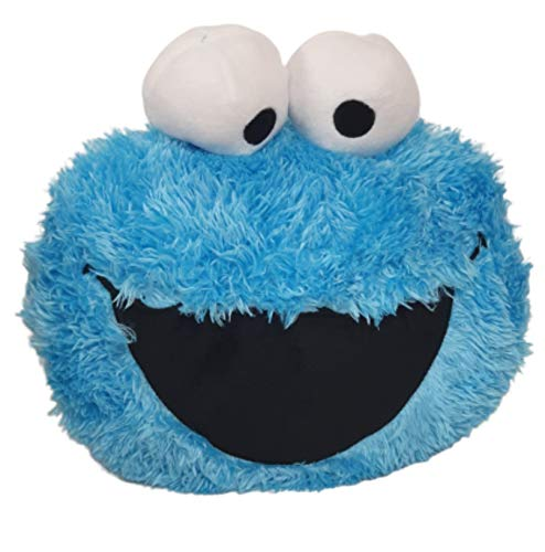 Ex Chain Store Cookie Monster Blue Cushion 3D Face Soft Sesame Street Travel Pillow