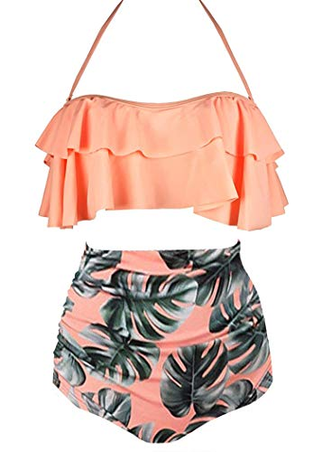 AOQUSSQOA Damen Badeanzug Rüschen Hals Hängen Bikini Sets Zweiteilige Bademode mit Hoher Taille Strandkleidung (Orange, XL)