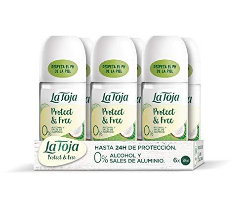 La Toja Protect & Free Desodorante Roll-on Coco y Lima - Unidades de 50ml (300ml), 6 Unidad