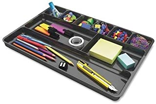 "38104 Deflect-o Plastic Desk Drawer Organizer - 1"" Height x 14"" Width x 9"" Depth - Black (Renewed)"