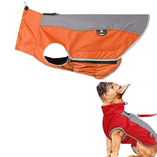 PLUS PO Regenmantel Für Hunde Wasserdicht Hunderegenmantel Für Kleine Hunde Hund Regenmäntel wasserdicht mit Kapuze Hund voller Regenmantel orange,m