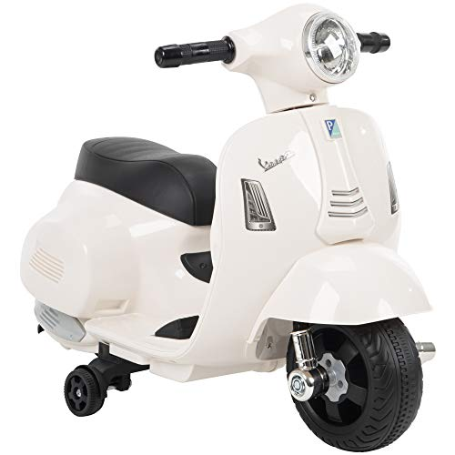 Huffy 6V Electric Mini Vespa Ride-On Scooter - White - for Ages 1.5 to 3 Years