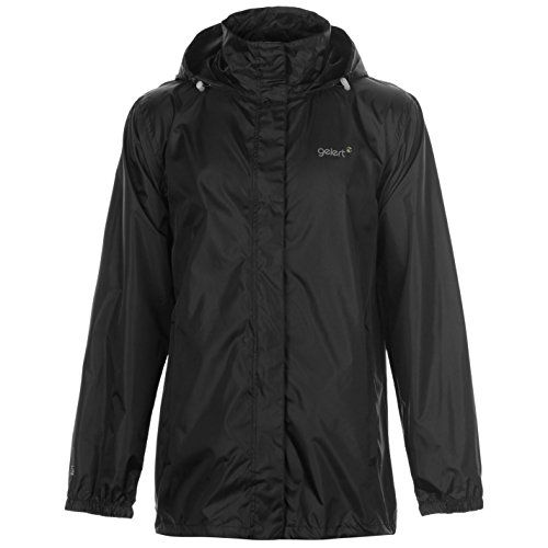 Gelert Herren Packaway Jacke Wasserdicht Atmungsaktiv Kapuze Verstaubar Schwarz XL
