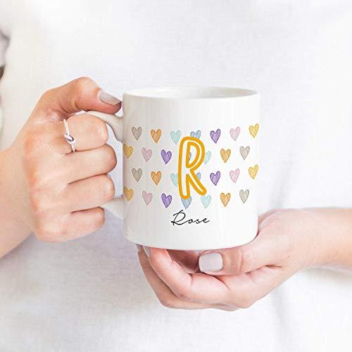 IWINO gepersonaliseerde mok met leuke initiële en hart/geschenk voor haar/gepersonaliseerde mok met naam/naam koffie mok