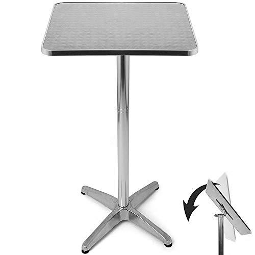 BAKAJI Tavolino in Alluminio per Esterno Pieghevole 60 x 60 cm con Altezza Regolabile 70/110cm Tavolo Bistrot Ripiano Top in Acciaio Inox Quadrato per Bar Casa Giardino Ristorante Silver