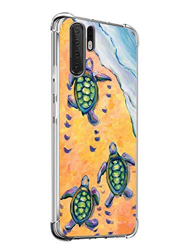 Suhctup Compatible pour Huawei P20 Plus/P20 Pro Coque Silicone Transparent avec Clear Motif Mignon Animal Design Étui Housse Coussin d'Air Souple Doux TPU Anti-Choc Protection Cover,Tortue de mer 1