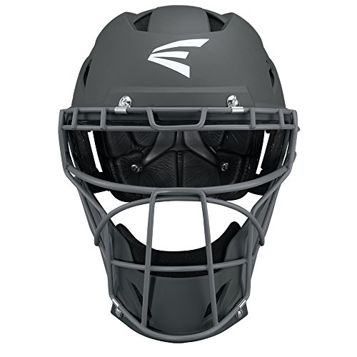 Easton PROWESS Fastpitch Softball Catchers Helmet | Large | Matte Charcoal/Charcoal | Molded EVA Foam + Impact Absorption + Comfort | Streamlined ABS Shell | Black Matte Steel Cage | NOCSAE