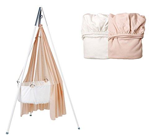 Kit Berceaux – Berceau avec voile Soft Pink, trépied Blanc et Lot de 2 draps housse 1 x Soft Pink/1 x blanc
