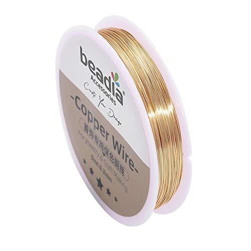 Beading Wire0.3-0.8mm Plata/Oro Alambre de Cobre joyería Cuerda Cuerda Colorfast Beading Wire Metal Hilo for la Pulsera de Bricolaje Collar Artesanal (Color : KC Gold, Talla : 0.4mm 25meters)