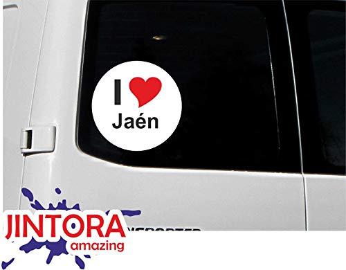 JINTORA - Adesivo/adesivo Auto I Love Heart - I Love Jaén - JDM/Die Cut/OEM - Lunotto posteriore - Auto - portatile - esterno, Rotondo, misura: 80mm