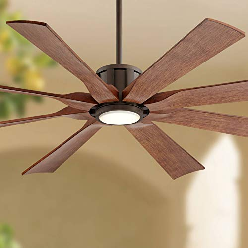 "60"" The Defender Modern Outdoor Ceiling Fan with Light LED Dimmable Remote Control Oil Rubbed Bronze Koa Blades Damp Rated for Patio Porch - Possini Euro Design"