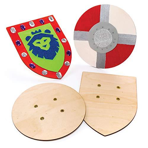 Baker Ross Escudos de Madera (paquete de 2), perfecto para que los niños decoren, ideal para manualidades en el hogar, trabajo escolar, proyectos de grupos de manualidades y más