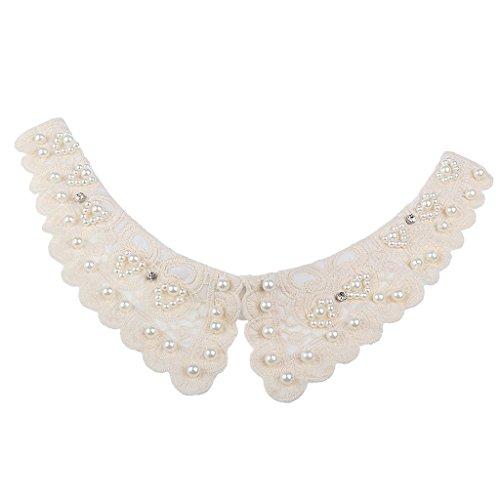 MagiDeal Frauen Kragen Abnehmbare Hälfte Shirt Bluse Weiß/Schwarz/Denim/Chiffon - Weiß Perlen, Halsband