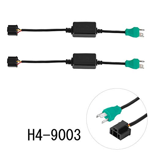 H4 9003 HB2 Anti Flicker Harness, YEEGO LED Canbus Error Free Resistor Decoder Adapter Flash Warning Canceller For Jeep Wrangler JK TJ LJ Headlights(2PCS Anti Flicker)