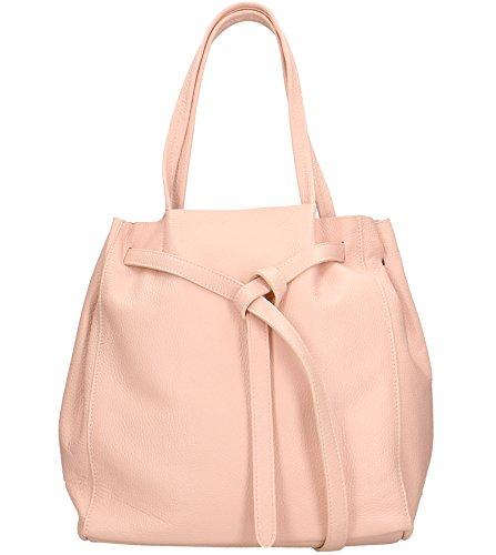 Freyday Damen Echtleder Shopper mit Innentasche in vielen Farben Schultertasche Henkeltasche (Rosa)