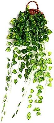 Kecream Feuilles de pastèque artificielles Décoration Murale pour Mariage, Salon, Chambre à Coucher, Jardin, fête avec Panier de Fleurs (95 cm)