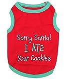 Parisian Pet Funny Christmas Holiday Dog Cat Pet Shirts Tee Tanks - Naughty or Nice, Santa Outfit, Elf Size, Santa's Helper, Sorry Santa I Ate Your Cookies (Sorry Santa I Ate Your Cookies, 3XL)