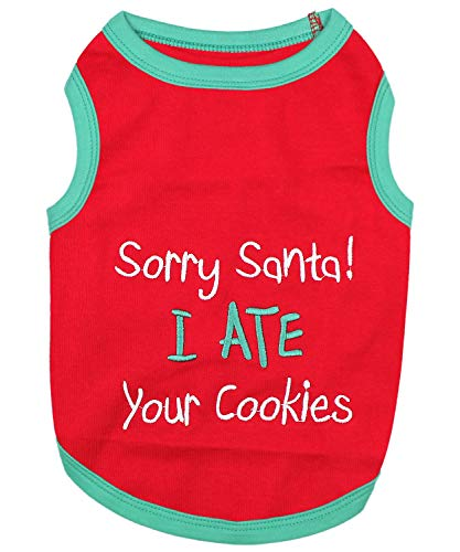 Parisian Pet Funny Christmas Holiday Dog Cat Pet Shirts Tee Tanks - Naughty or Nice, Santa Outfit, Elf Size, Santa's Helper, Sorry Santa I Ate Your Cookies (Santa I Ate Your Cookies, 4XL)