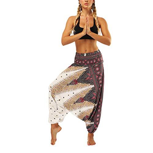 Mujer Pantalones Hippies Estampados Yoga Pants, Tailandeses Estampado Verano Cintura Alta Elastica para Yoga Casual Boho Patrones Jumpsuit Pantalones