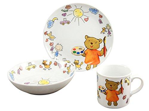 Creatable Serie Teddy, Geschirrset 3 teilig Kinderservice, Porzellan, Mehrfarbig, 24 x 20 x 26 cm, 3-Einheiten