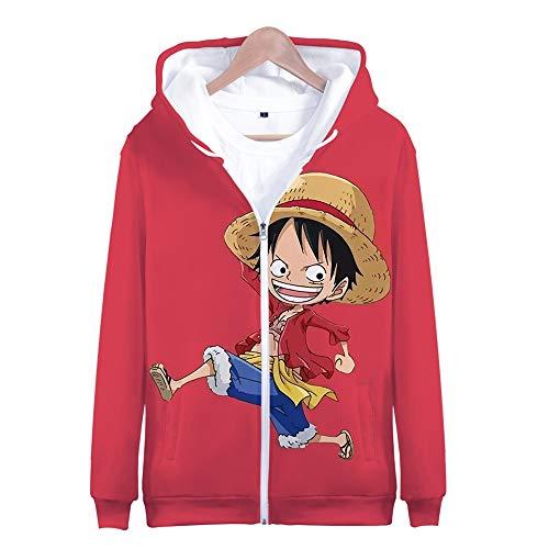 Nicoole One Piece Hoodie Veste Sweat 3D Imprimer Vogue Zipper Hoodies Hommes/Femmes Japonaise Hiver À Manches Longues Anime Hoodies Vêtements XXXL