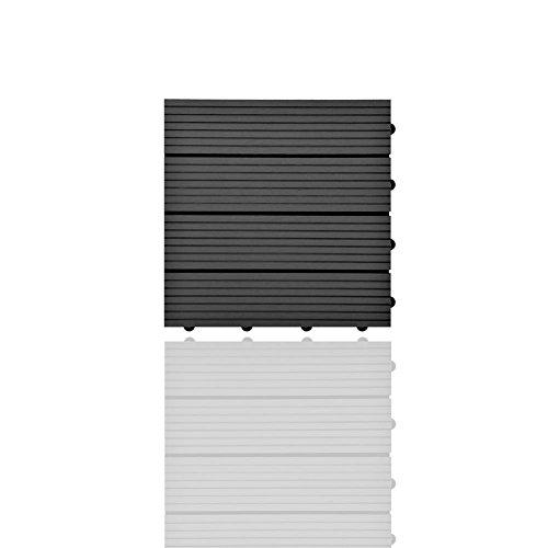 SIENOC Terrassen-Fliese aus WPC Kunststoff, Einzelfliese, Garten-Fliese,Balkon Bodenbelag mit Drainage Unterkonstruktion (30x30 cm, Grau)