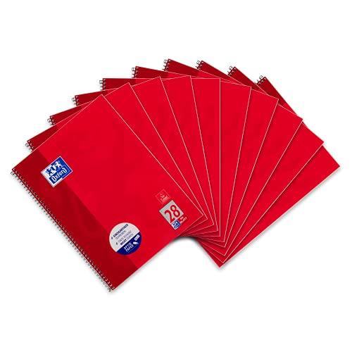 Oxford Schule Collegeblock A4, kariert, 80 Blatt, rot, 10er Pack