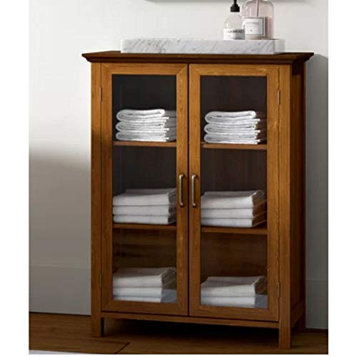 Rustic Free-Standing Linen Bathroom Cabinet Wooden Glass Door Floor Cabinet Storage Kitchen Cupboard Wine Glass Storage Display Organizer Floor Accent Cabinet Sturdy