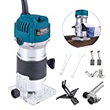 Wood Router,Router Tool Wood Trimmer Router Electric Hand Trimmer Laminate Milling Engraving Hand Machine Joiner Tool Electric for Slotting Trimming Carving 110V 800W 30000R/MIN(Blue)