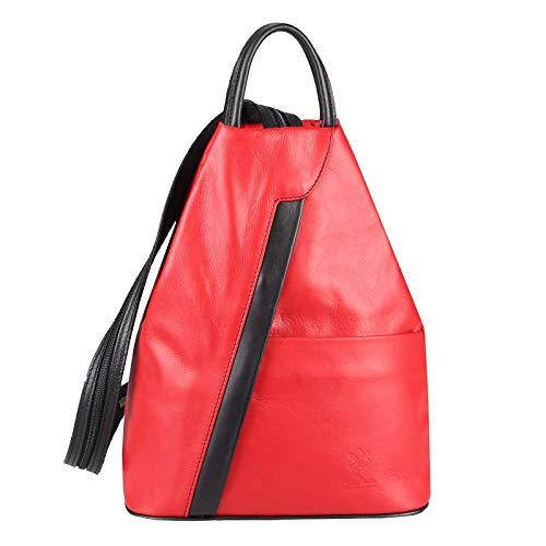 OBC Made in Italy Damen echt Leder Rucksack Lederrucksack Tasche Schultertasche Ledertasche Rucksack Handtasche Nappaleder (Rot-Schwarz)