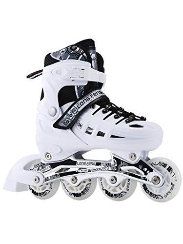 BTYKJ Weiße Schlittschuhe, Schlittschuhe für Erwachsene, Rollschuhe, Straight Skating, Kinder-Set, Anfängerpaket für Männer und Frauen 35-38 Single Flash Weiße Schuhe [Rucksack senden]