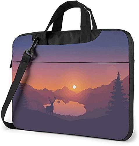 Laptop Shoulder Bag,Sunset Deer Pattern Shockproof Laptop Sleeve Cover Business Messenger Bag Briefcase Handbag Case 15.6 inch