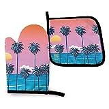 Divertidos guantes para horno y soportes para ollas, puesta de sol en la playa,...