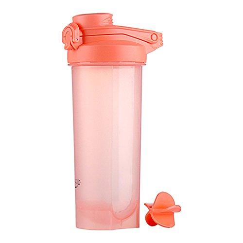 700ml Proteine Shaker Bottiglia con Palla a Spirale Senza BPA, Coperchio a Prova di Perdite con Pratica Maniglia Palestra Fitness per Bevande Sportive, Integratori Nutrizionali in Polvere (Rosa)