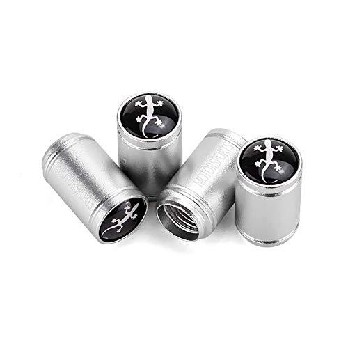 DSYCAR 4 Stücke Ventilkappen Aluminiumlegierung Gecko Stil Reifen Ventilschaftkappe Reifen Radschaft Luftventilkappen für Auto Autos (Silber)